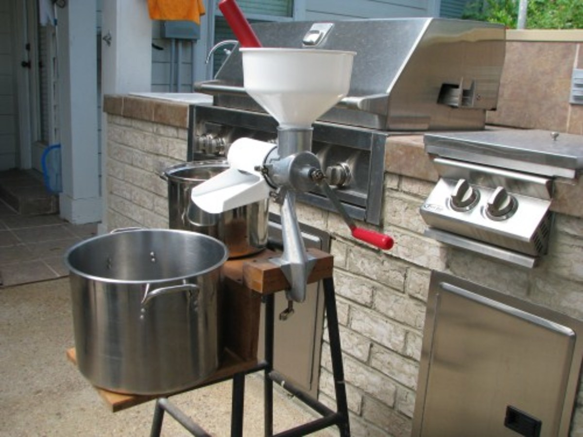 Custom Stand work station from Cottage Craft Works for the Victorio Food/Tomato Strainer VKP250