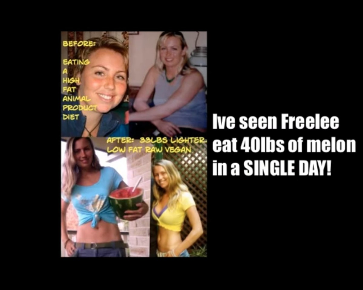 Woman lost a lot of weight by eating a raw food diet with 97% fruit. She eats more food than any other woman on the planet earth. See video below.