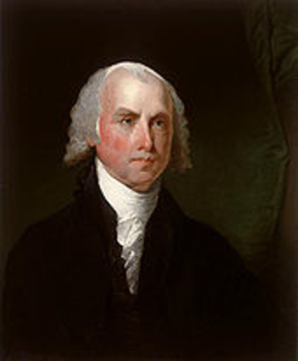 PRESIDENT JAMES MADISON, (b. 1751, d. 1836), POTUS #4, MARCH 4. 1809 - MARCH 4, 1817