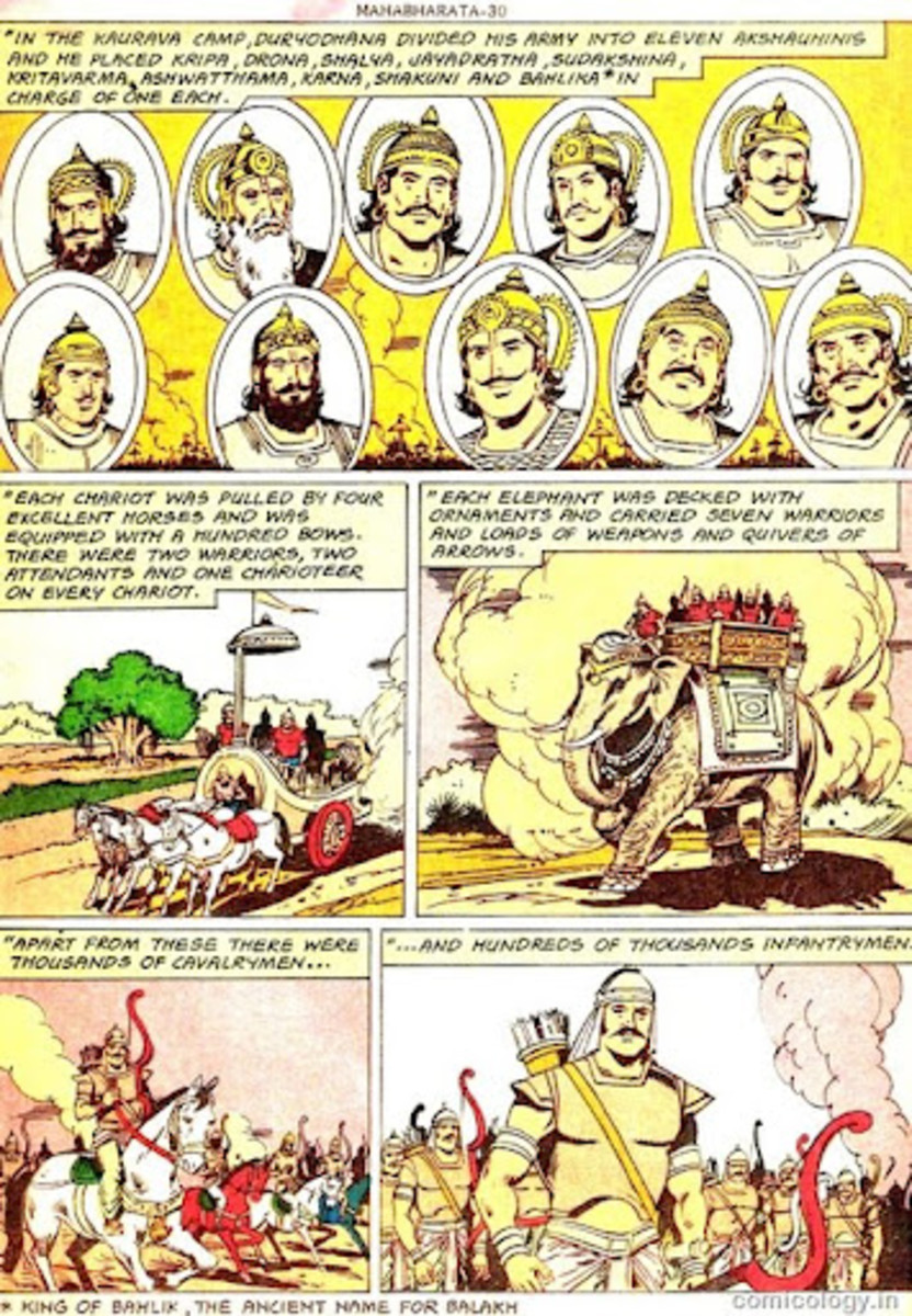 Una página muestra del Amar Chitra Katha Mahabharata que se extiende por más de 1.700 páginas