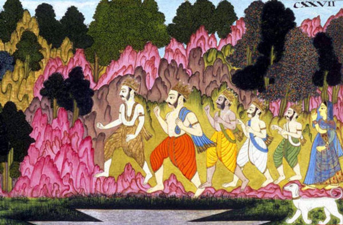 Los hermanos Pandavas marcharon al Himalaya después de gobernar el reino desde hace años con el Señor Krishna por su lado.