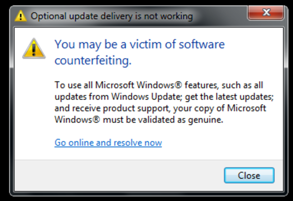 A warning that your copy of Windows is not genuine