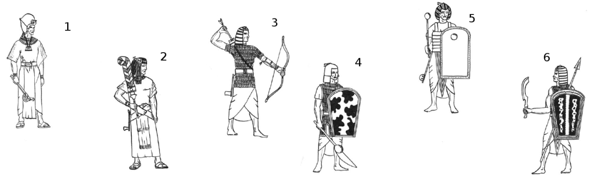 Egyptian Units, New Kingdom, 19th Dynasty: 1. Pharaoh Rameses II, 2. General, 3. Chariot Warrior, 4. Heavy Poleaxe Infantry, 5. Heavy Mace Infantry, 6. Heavy Spearman