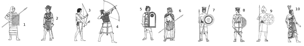Egyptian Units, New Kingdom, 20th Dynasty: 1. Hettite Spearman, 2. Pharaoh Rameses III, 3. Light Archer, 4. Marine, 5. Guard Officer, 6. Retennu Spearman, 7. Peleset Light Infantry, 8. Peleset Medium Infantry, 9. Meshwesh, 10. Meshwesh Lybian