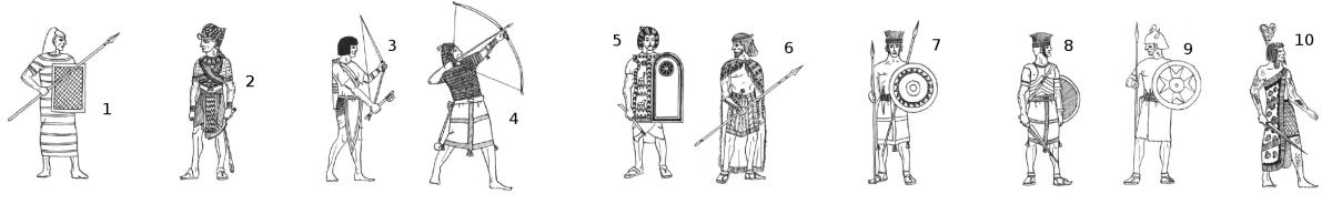 Egyptian Units, New Kingdom, 20th Dynasty: 1. Hettite Spearman, 2. Pharaoh Rameses III, 3. Light Archer, 4. Marine, 5. Guard Officer, 6. Retennu Spearman, 7. Peleset Light Infantry, 8. Peleset Medium Infantry, 9. Meshwesh, 10. Meshwesh Lybian