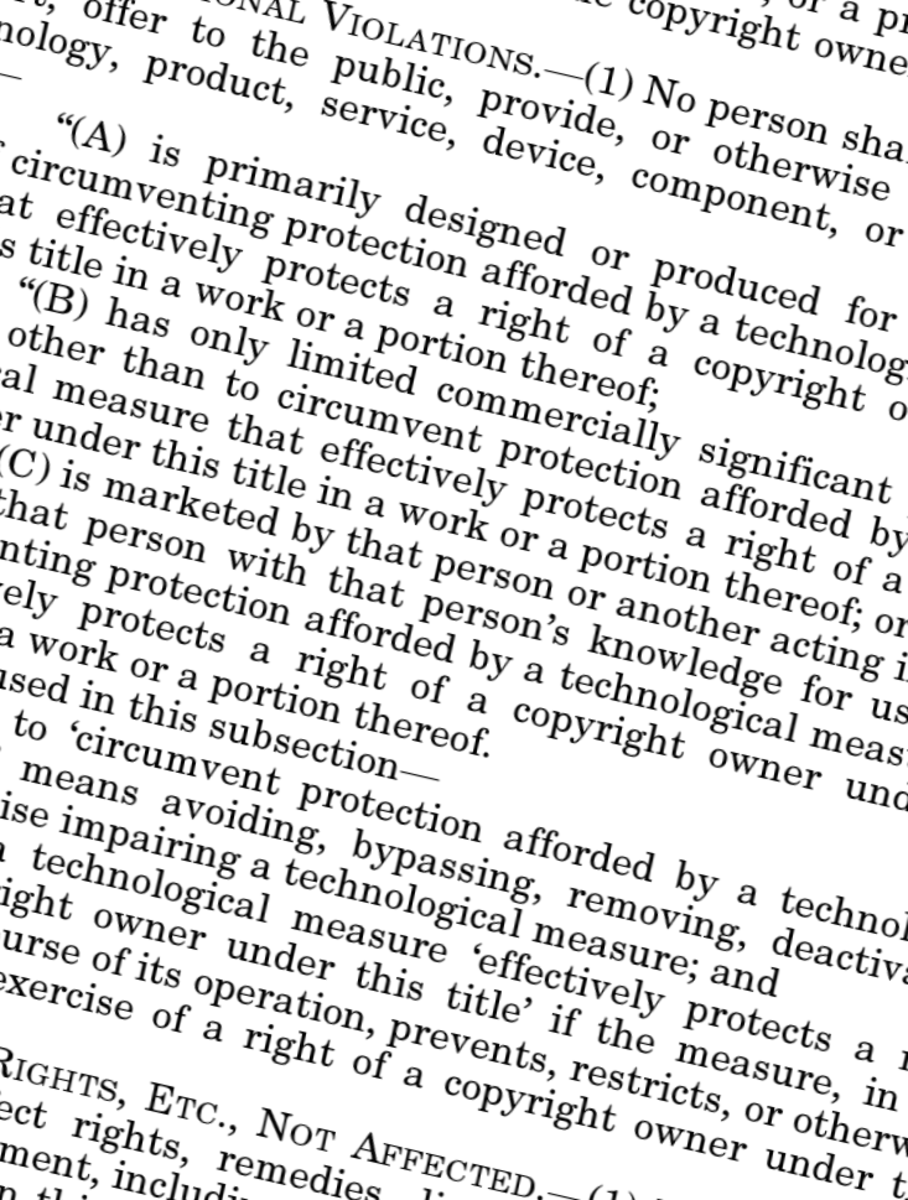 A section of the Digital Millennium Copyright Act (DMCA)
