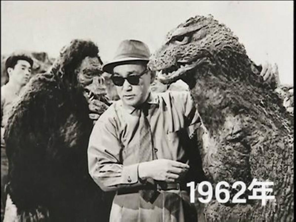 Eiji Tsuburaya on the set of King Kong vs Godzilla