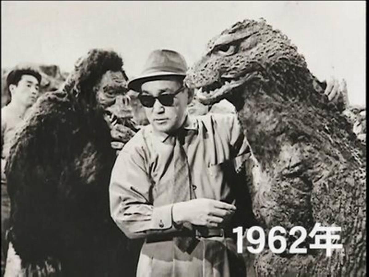 Eiji Tsuburaya on the set of King Kong vs Godzilla