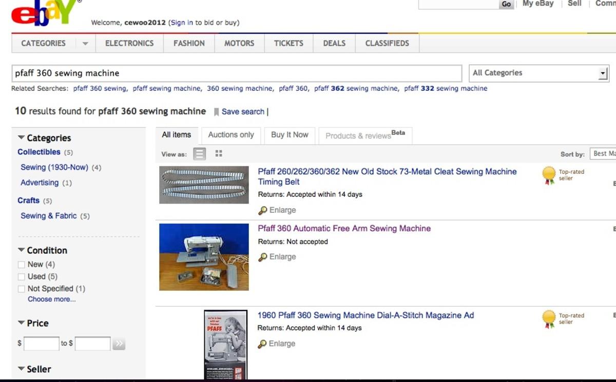 Sample Ebay listing for Pfaff 360