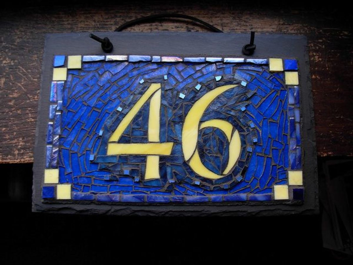 Numbers by Wayne Stratz, mosaic by Margaret Almon.