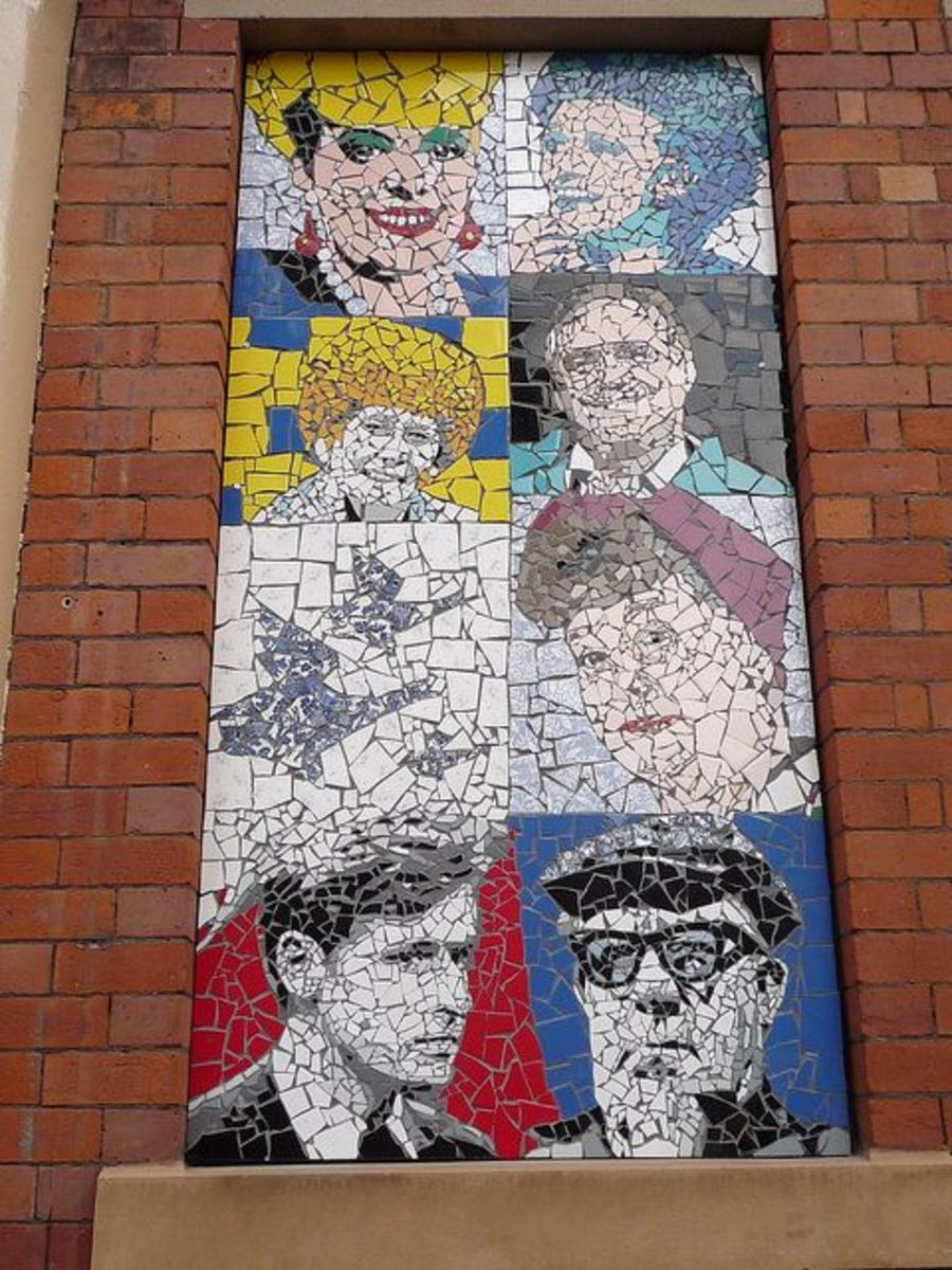 I love this mosaic tribute depicting some of the most popular characters in the UK TV program Coronation Street.