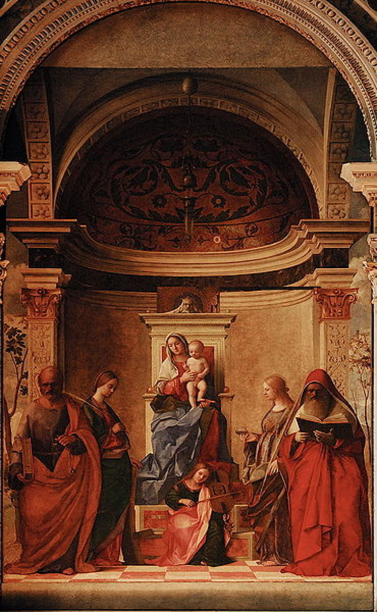 San Zaccaria Altarpiece (1505) by Giovanni Bellini, of the Venetian School of painting.