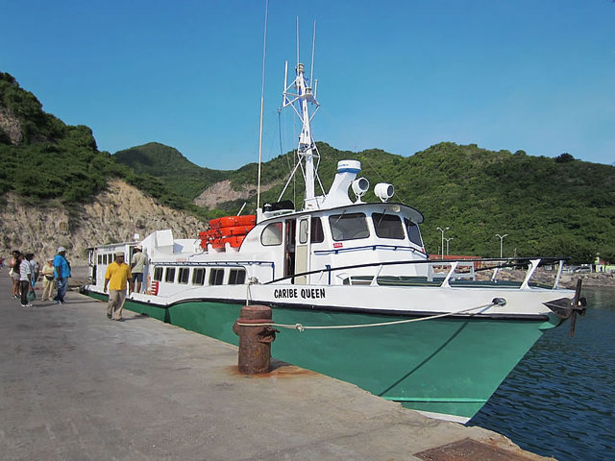 Caribe Queen sails between Antigua and Montserrat.  Photo by David Stanley