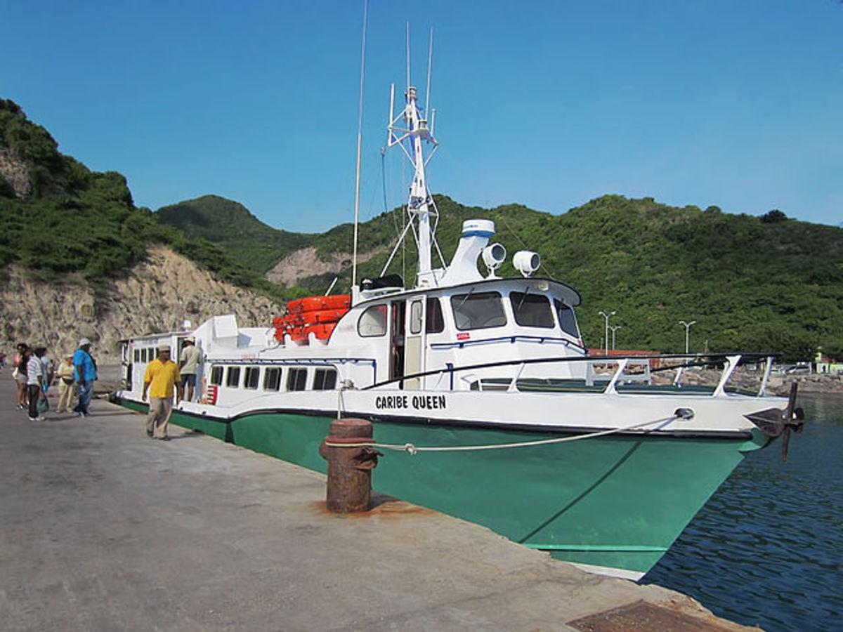 Caribe Queen sails between Antigua and Montserrat.