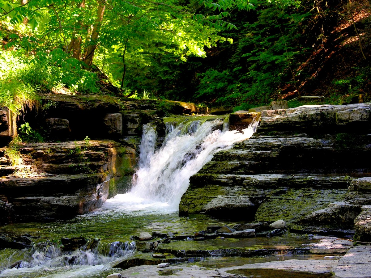 Stony Brook State Park includes natural water slides, waterfalls, and a swimming hole.