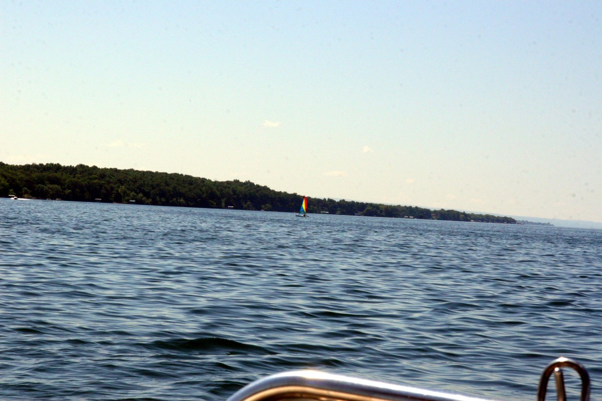A boat-side view of Lake Seneca.