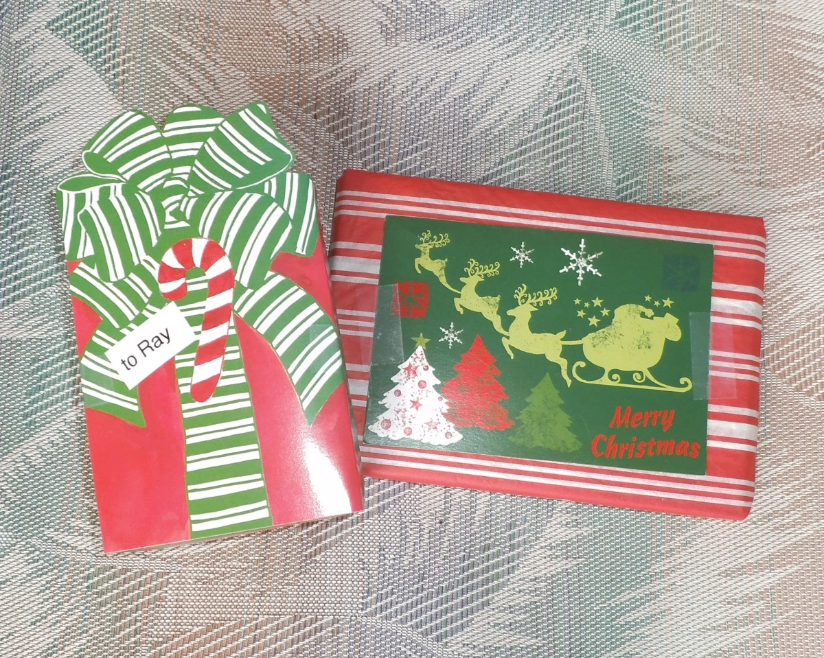 I've decorated these packages with last year's Christmas cards. They look festive and are easy to pack for shipping (no bows).