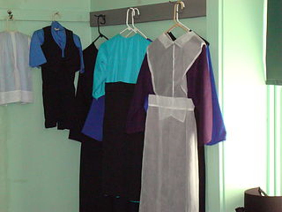 Amish clothing hanging in a bedroom, Lancaster County, Pennsylvania, USA