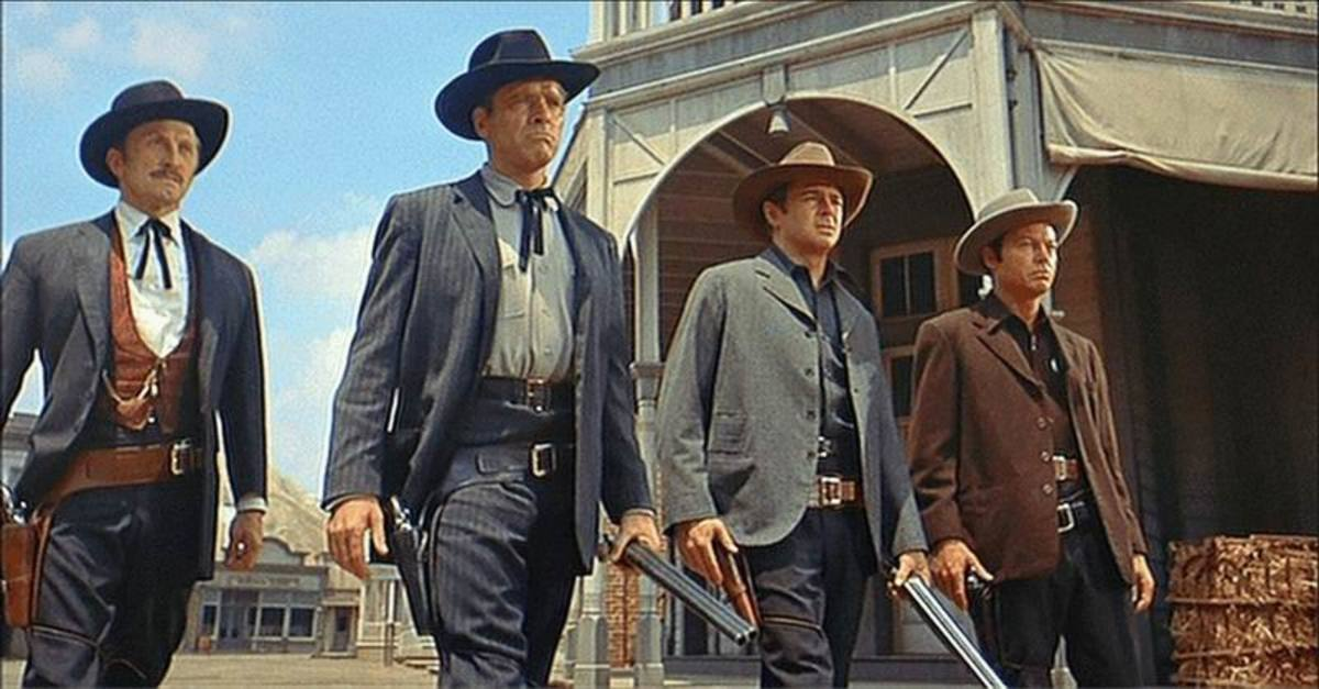 Douglas, Lancaster, John Hudson, and DeForest Kelley in Gunfight at the OK Corral