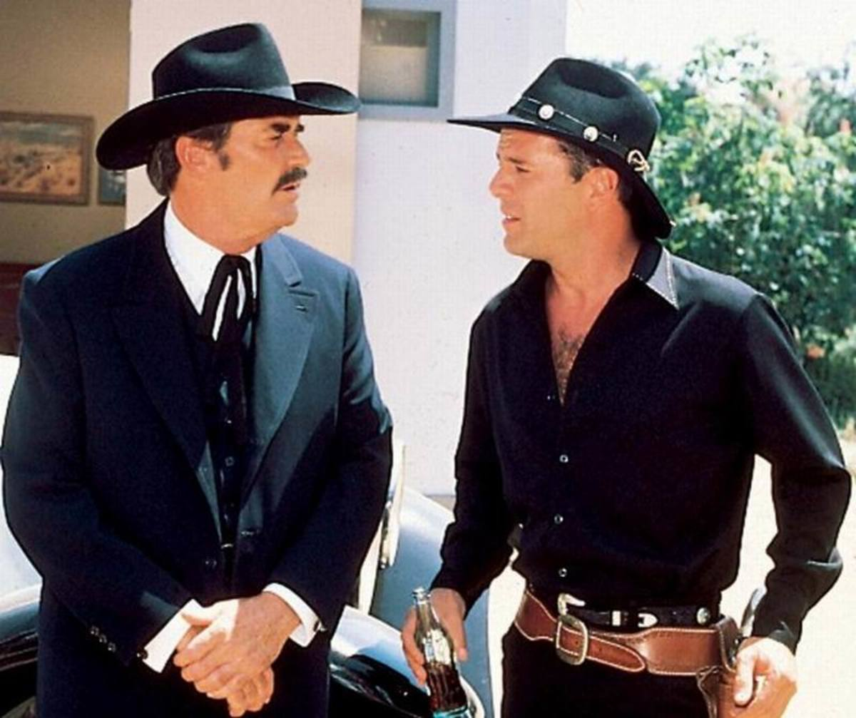 James Garner and Bruce Willis in Sunset