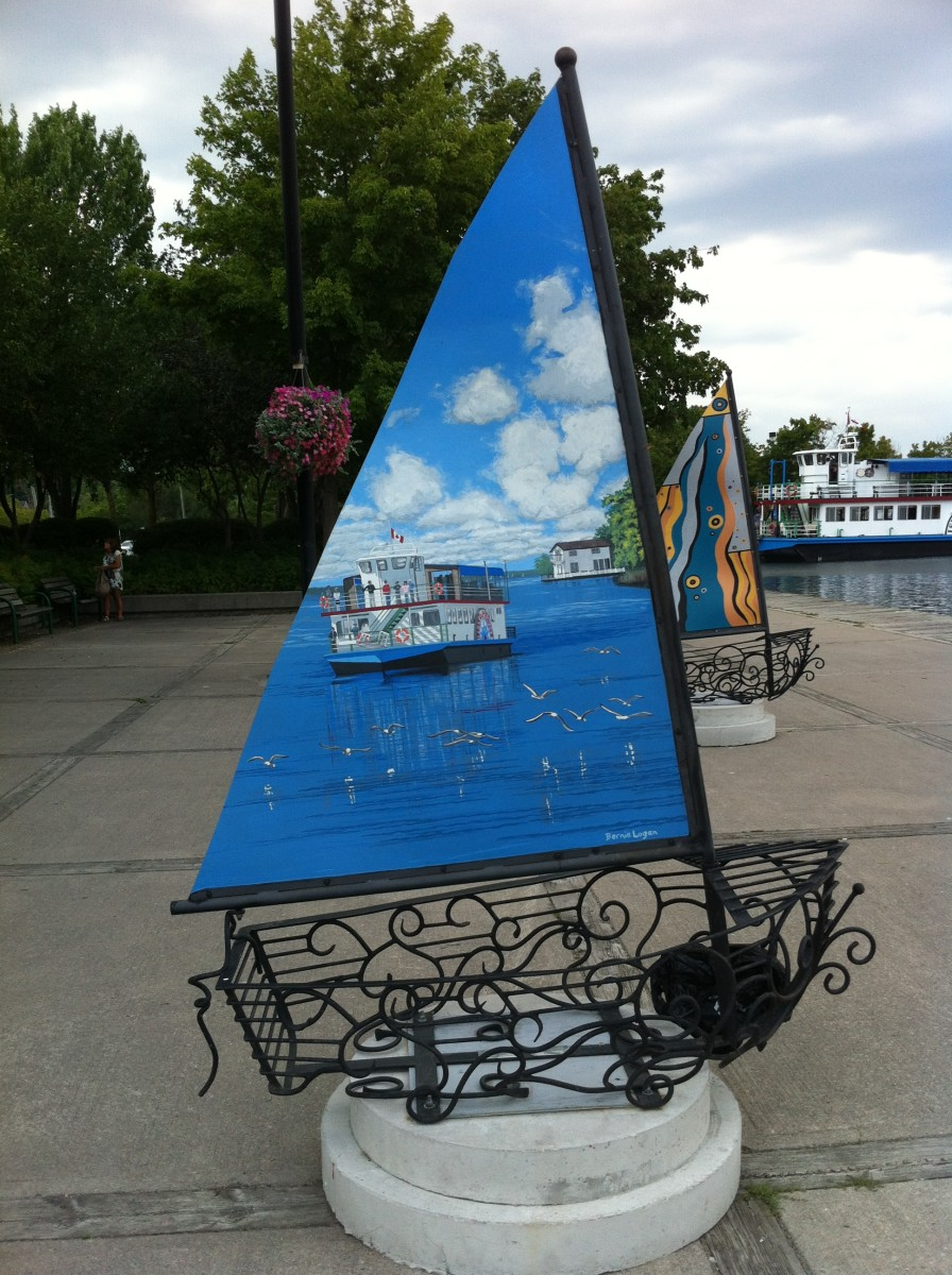This sailboat sculpture can be found at the Orillia waterfront. This particular one is of The Island Princess a riverboat that is still running today offering tours of Lake Couchiching and Lake Simcoe.