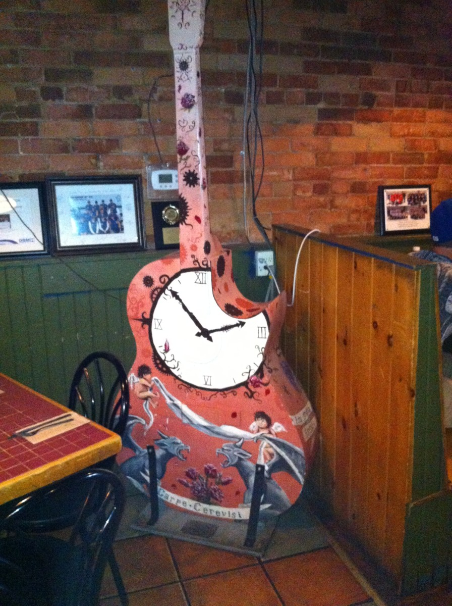 This guitar can now be found inside Brewery Bay (A restaurant and bar) on Mississauga Street in Orillia.