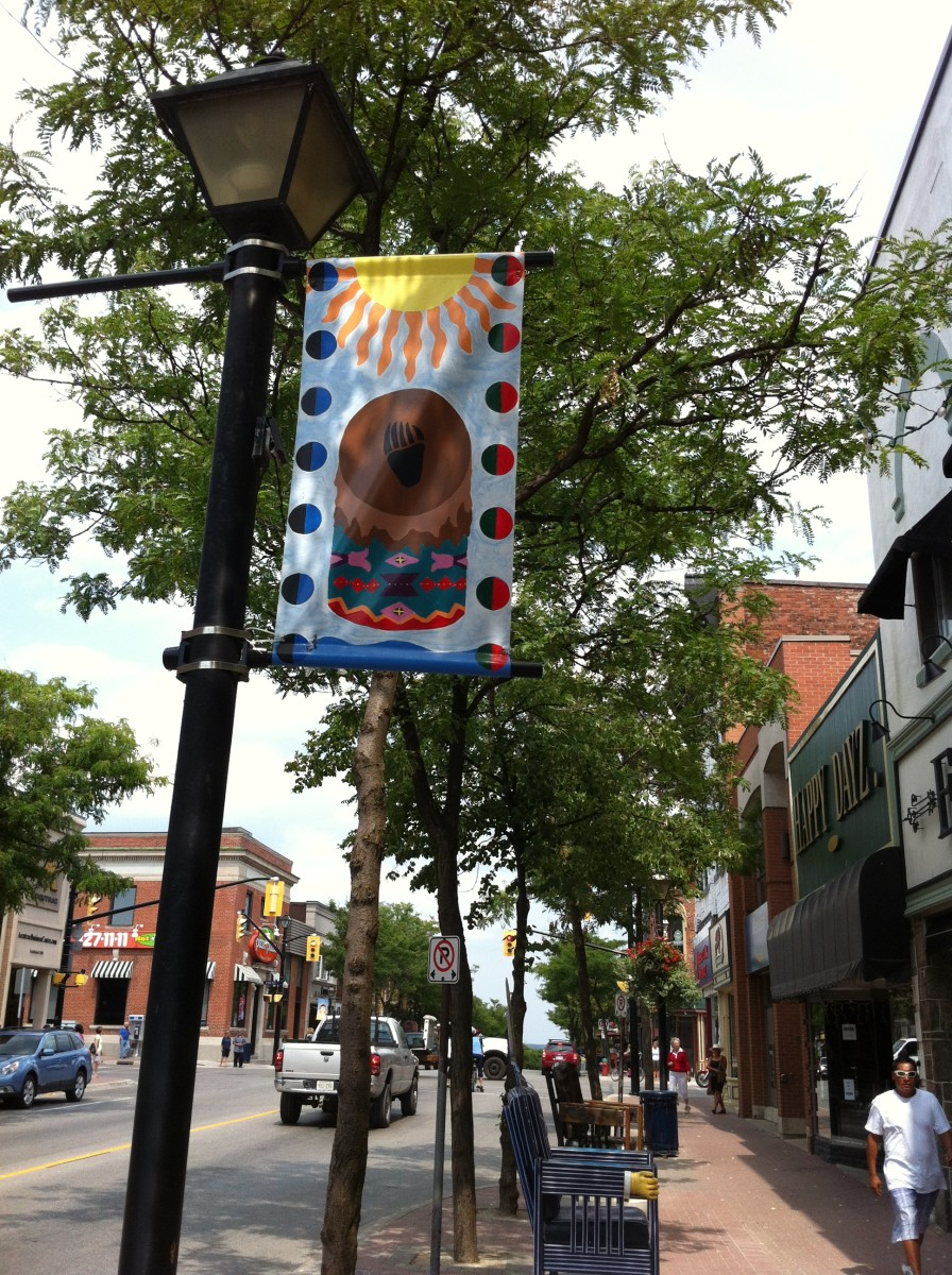 This banner hangs outside one of the shops on Mississauga Street in Orillia's downtown.
