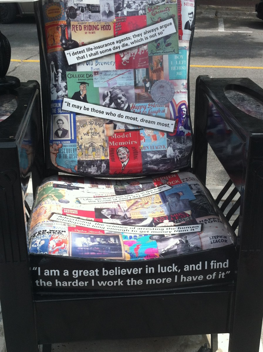 This chair has many quotes by Steven Leacock as well as drawing of some of his many books. The Reading Chair artist is Brenda Slater