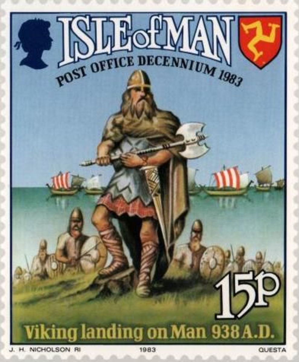 Manx Post Office 1983 stamp marks the arrival in AD 938 of the first permanent Norse settlers