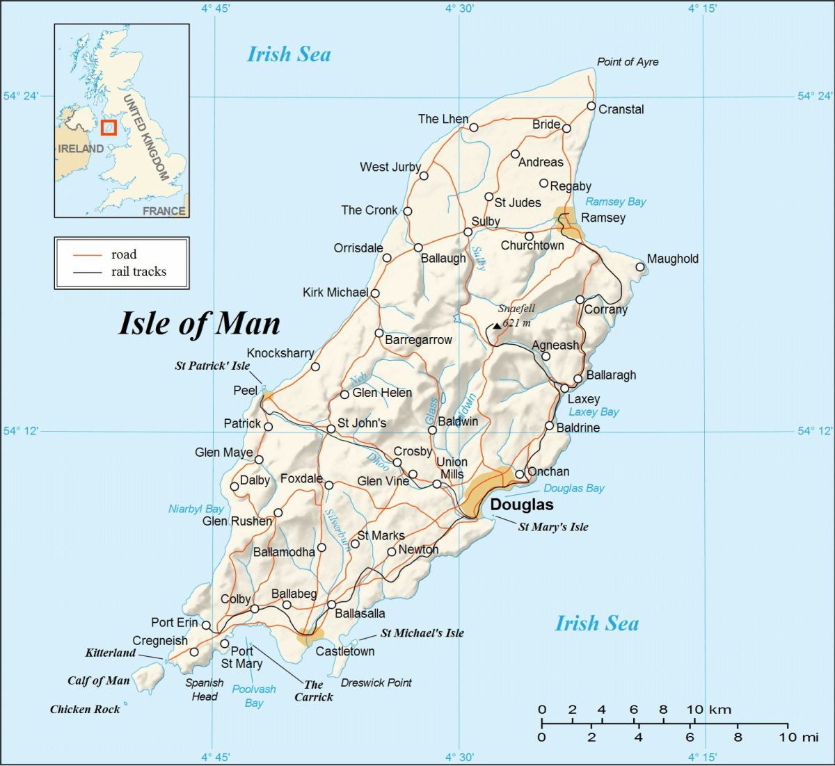 The Isle of Man, situated halfway between England and Ireland, and the same distance from Scotland, the isle is handy in the centre of the Irish Sea for tourists