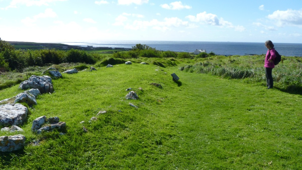 The Balladoole ship burial site, the shape 'drawn' in stones around the corpse interment
