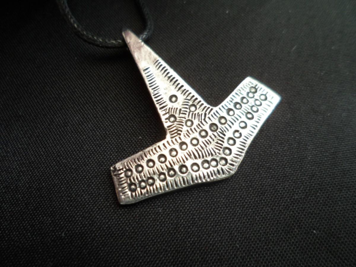 Hammered pewter Thor's Hammer - Mjoellnir - pendant