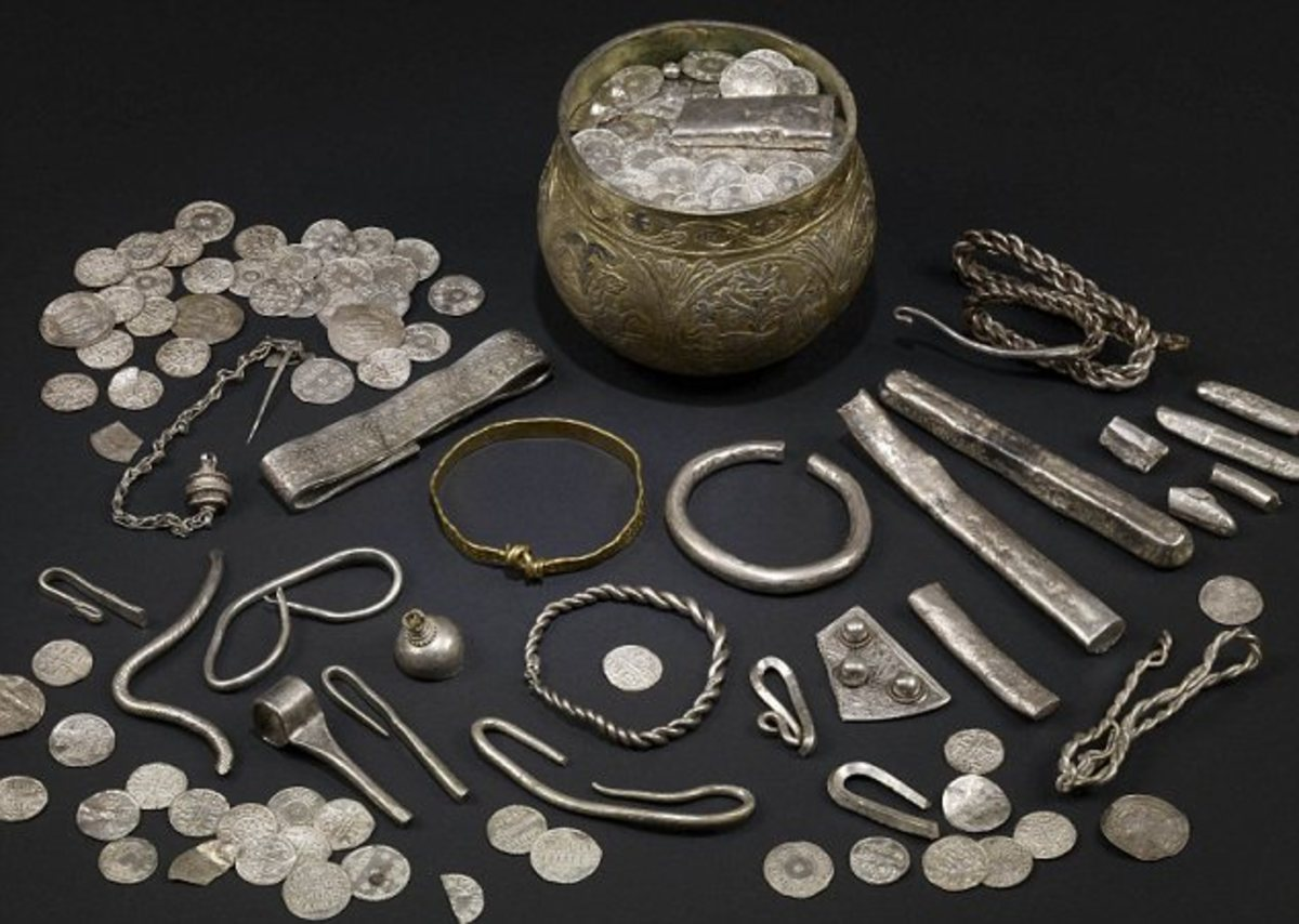 Part of the Ballaquayle hoard from the Isle of Man,     uncovered in 1894,on show in the Manx Museum