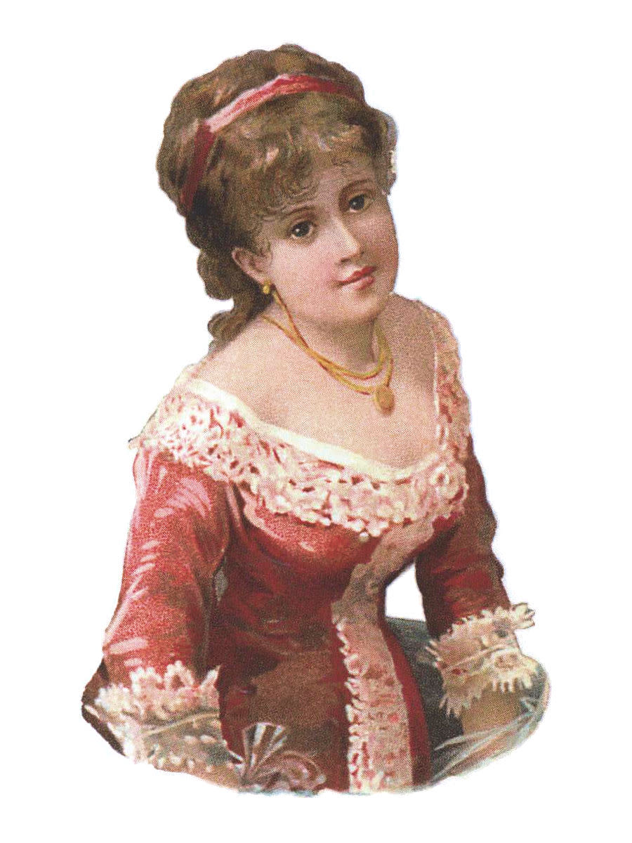 A lady of the Victorian age wearing a red headband.