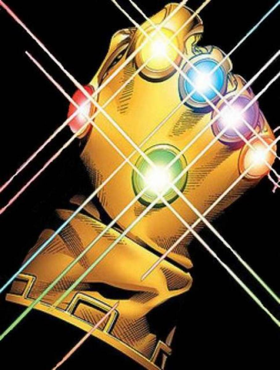 Six Infinity gems plus Thanos' glove make an Infinity Gauntlet.
