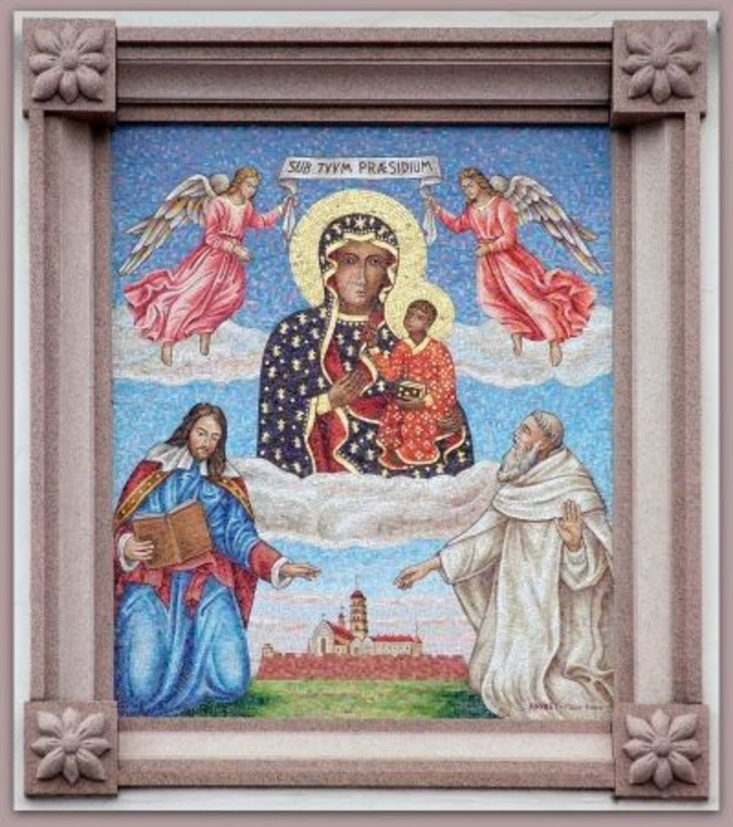 Jasna Gora Mosaic (2000) showing the Black Madonna and (possibly) King John Casimir and Father Augustyn Kordecki