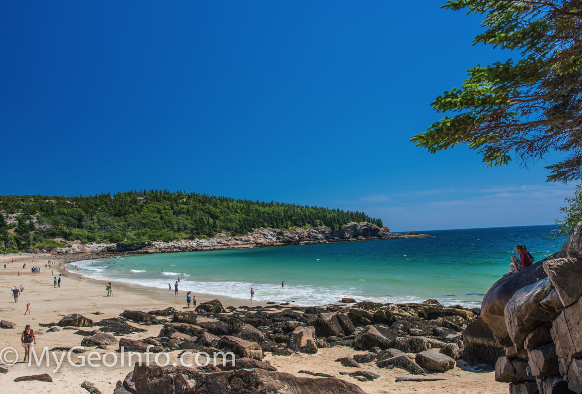 A beautiful Maine beach in Acadia National Park, near Bar Harbor.