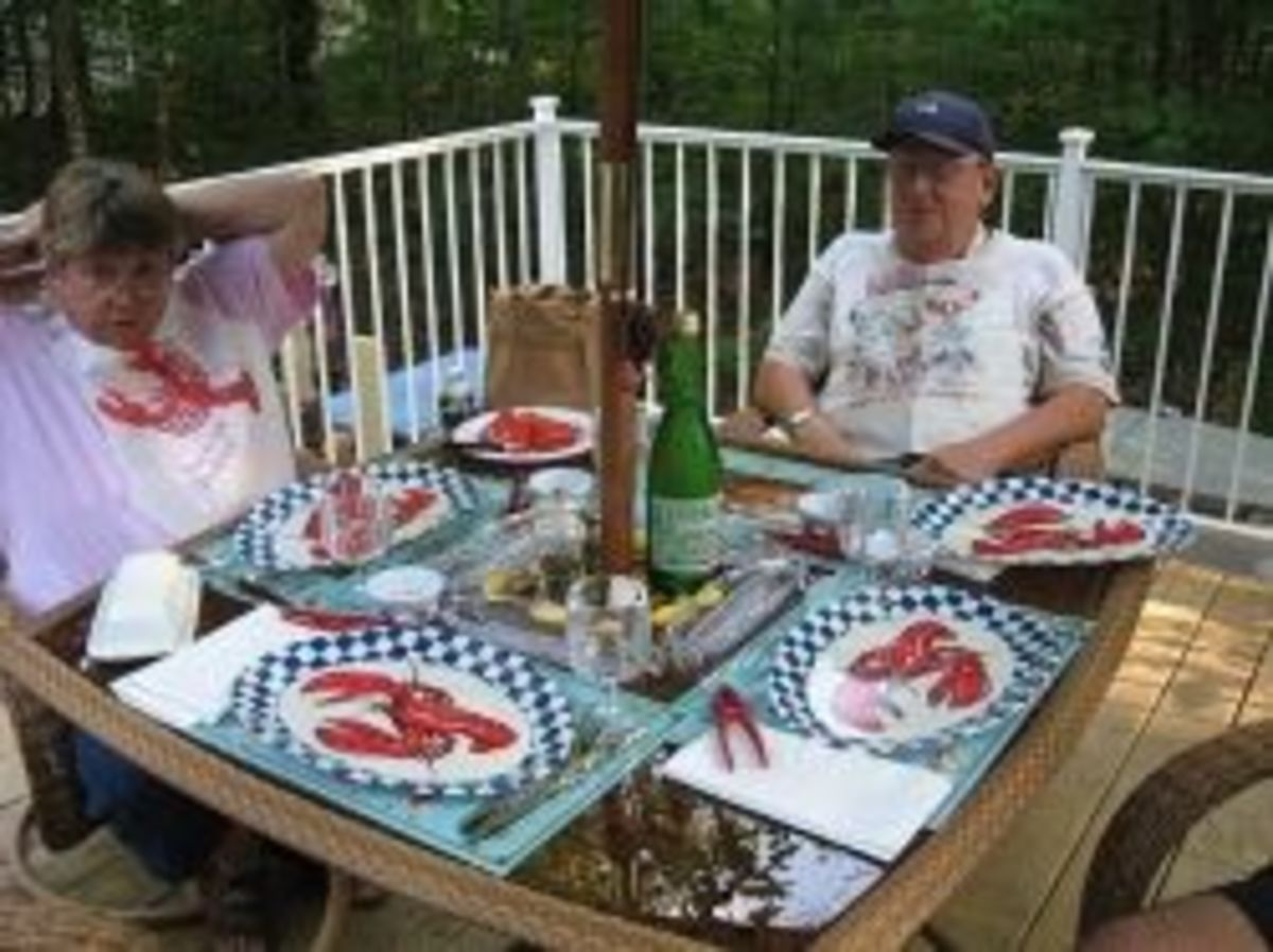My sister and her husband are ready for their very first lobster feast.