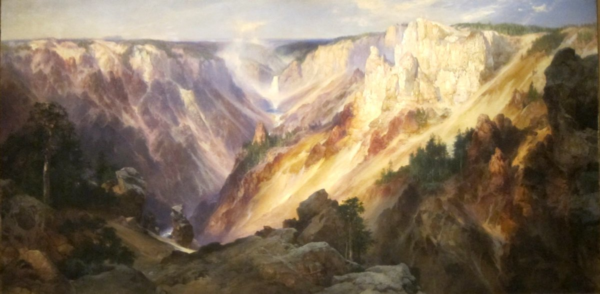 Grand Canyon of the Yellowstone, oil on canvas painting by Thomas Moran, 1904
