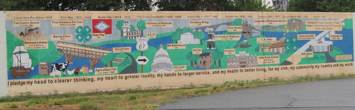 Interesting and informative Mural of highlights of the twin cities of Little Rock & North Little Rock ARkansas