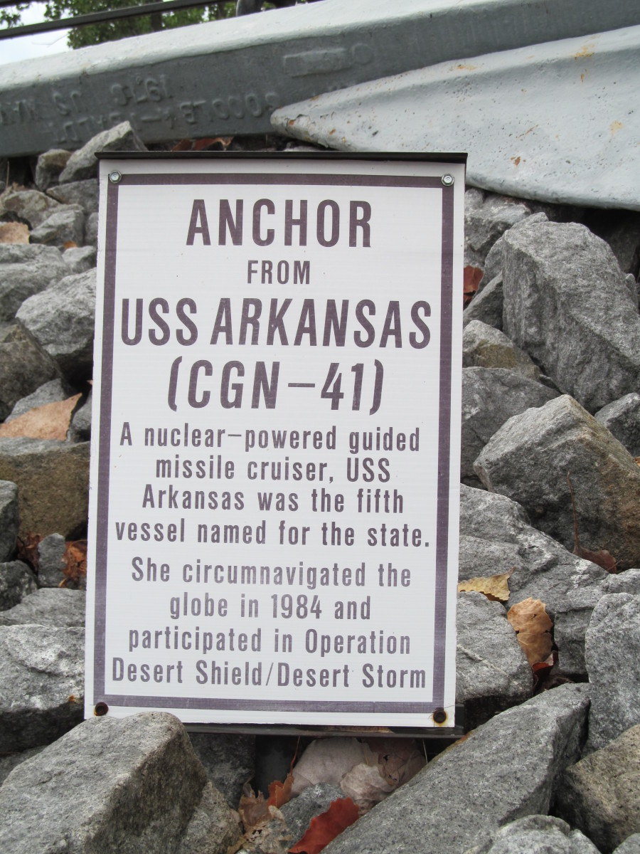 Informational sign re an Anchor from the USS Arkansas ( a different ship)
