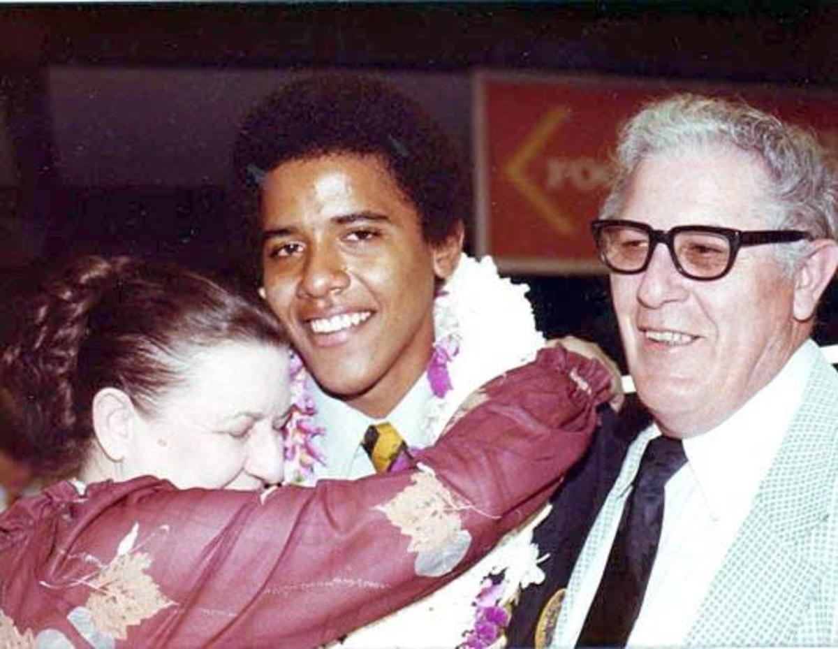 Barack with his grandparents at graduation.