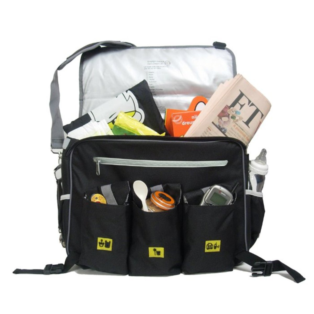 Diaper Dude Black Deluxe Diaper Bag - Loaded with stuff