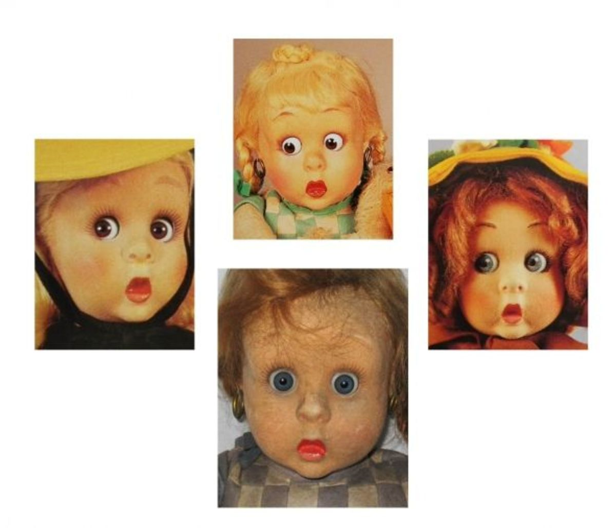 Some of the googly-eyed dolls have movable eyes.