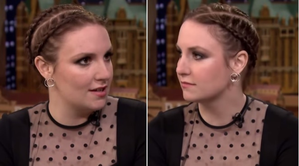 Lena Dunham wears a glamorous cornrow hairstyle and a basic black dress in 2015