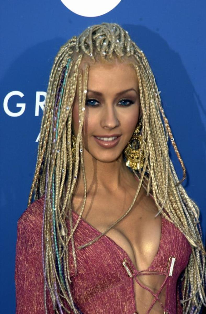 Christina Aguilera with Long, Artificial Braids
