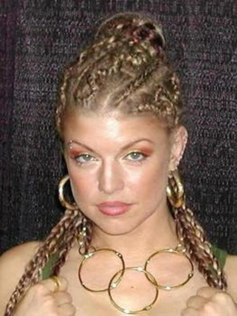 Fergie with Blonde Cornrows and Braids