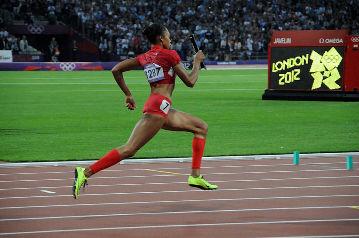 Allyson Felix during the women's 4 X 400m relay