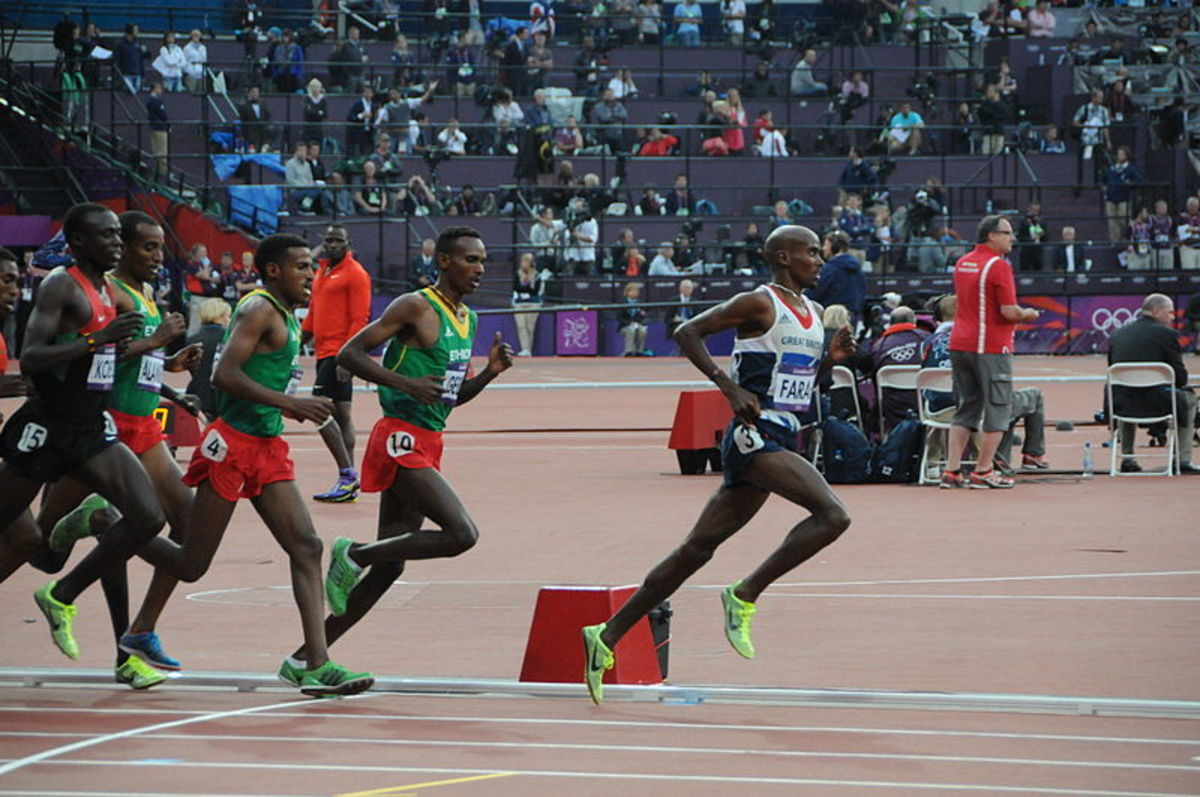 Mo Farah during the men's 5000m