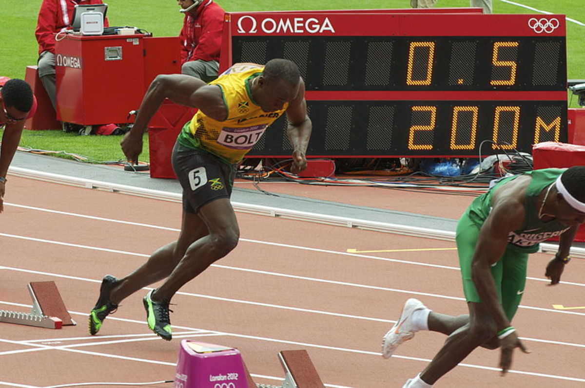 Usain Bolt at the start of the men's 200m